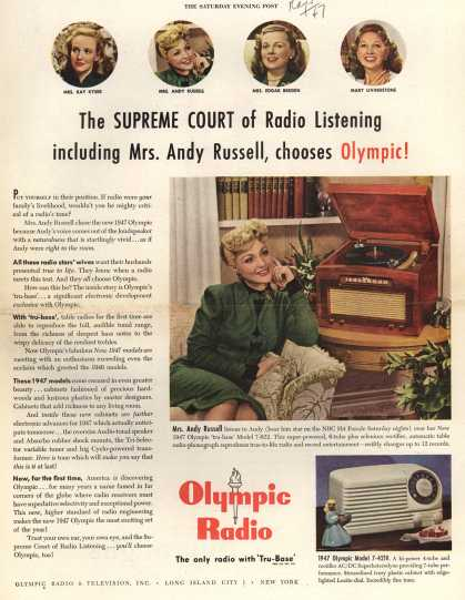 Olympic Radio & Television's Various – The Supreme Court of Radio Listening including Mrs. Andy Russell, chooses Olympic (1947)