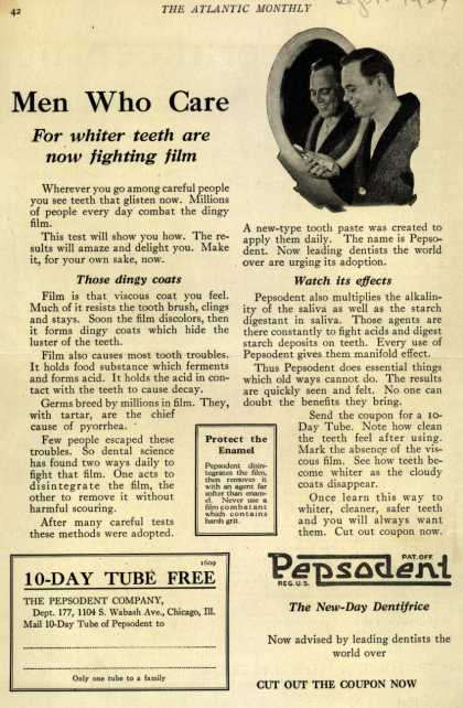 Pepsodent Company's tooth paste – Men Who Care (1924)
