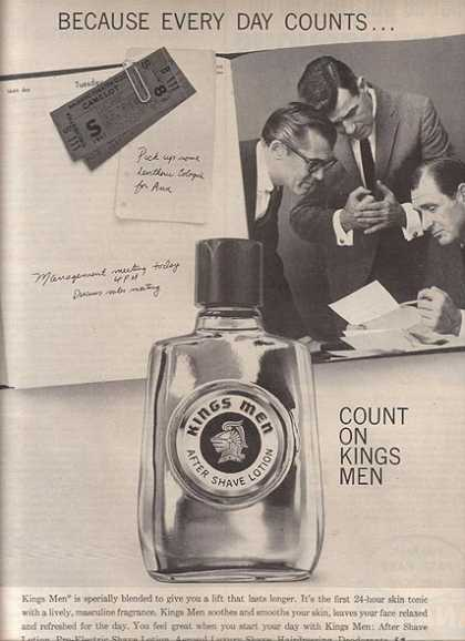 Kings Men's first 24-hour skin tonic with a lively, masculine fragrance (1961)