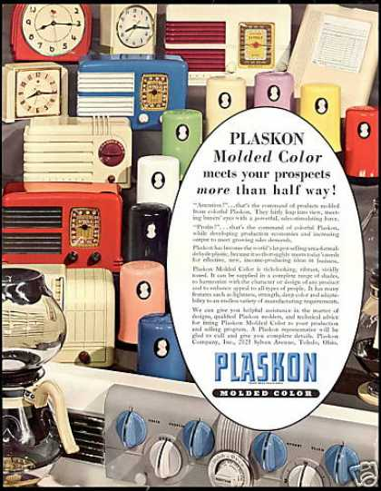 Plaskon Molded Color Clocks Radio Photo (1940)