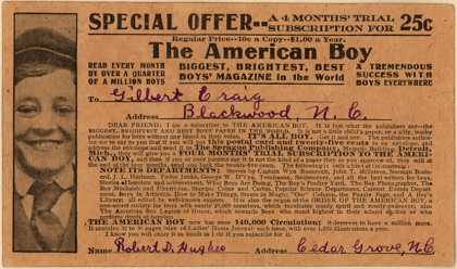 Sprague Publishing Company's American Boy Magazine – Special Offer... A 4 Months Trial Subscription for The American Boy (1909)