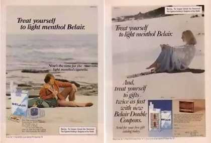 Belair Cigarettes Ads – Belair on the Beach Set of 2 (1976)