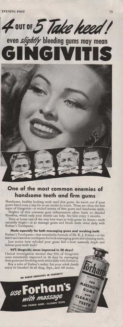Forhans Massaging Gums & Cleaning Teeth (1942)