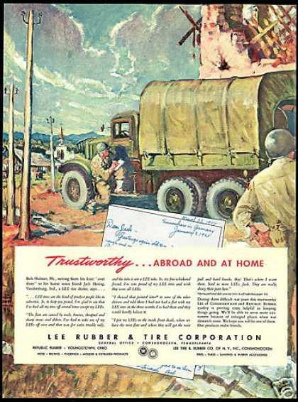 US Army Soldiers Truck Germany Lee Tire (1945)