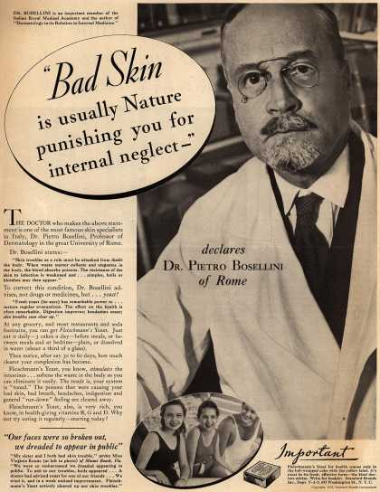 "Standard Brand's Fleischmann's Yeast – ""Bad skin is usually Nature punishing you for internal neglect"" (1933)"