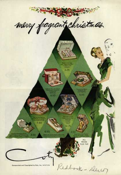 Coty's Cosmetic gifts – merry fragrant christmas (1947)