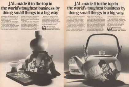 JAL Japan Airlines Ads – Doing things in a small way – Set of Two (1977)