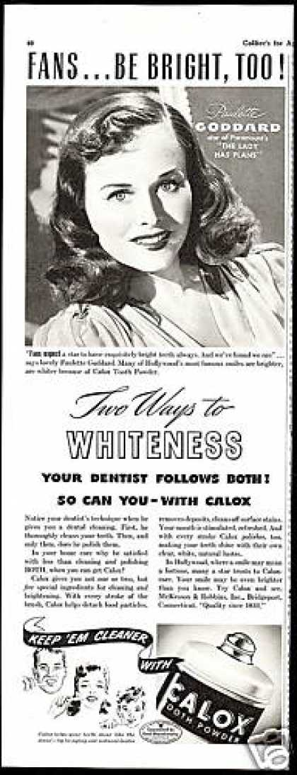 Paulette Goodard Photo Calox Tooth Powder (1942)