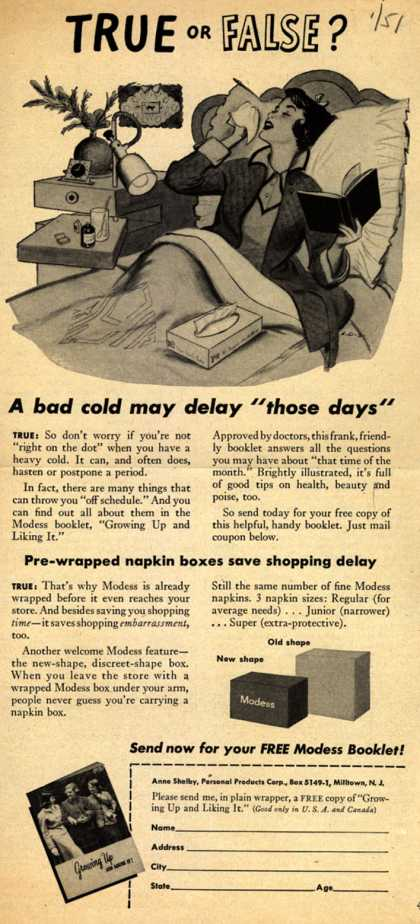 Modes's Sanitary Napkins – True or False? (1951)