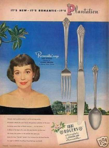 - 1881 Rogers Silverplate Ad Jane Wyman (1948)