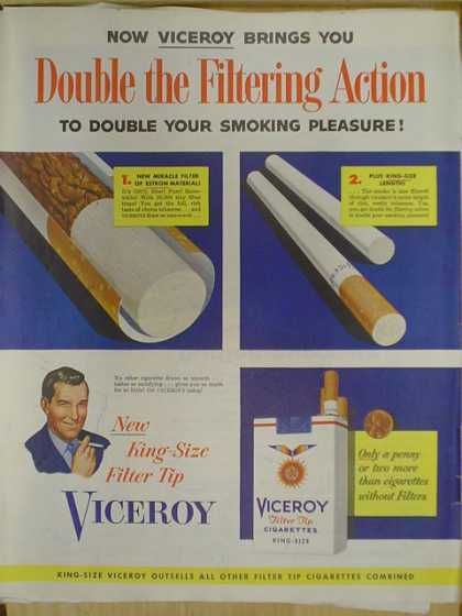 Viceroy filter tip cigarettes. Double the filtering action (1952)