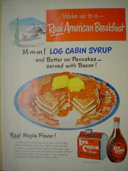 Log Cabin Maple Syrup Real Maple Flavor (1950)