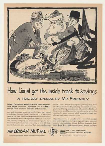 '55 Lionel Train Santa Christmas American Mutual Ins (1955)