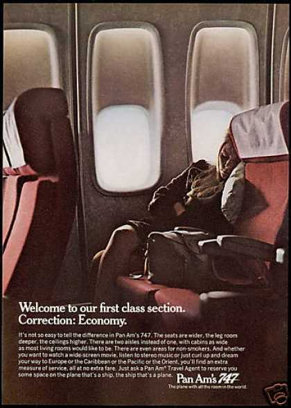 Pan Am Airlines 747 1st Class Economy (1970)