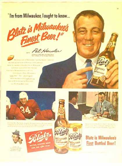 Blatz Beer – Pat Harder – Cardinal's Star Fullback – Sold (1949)