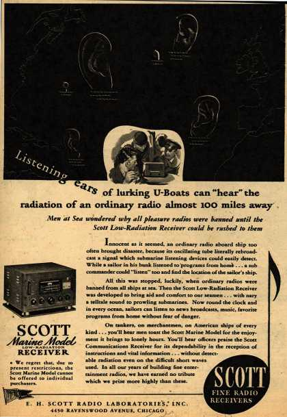 "E.H. Scott Radio Laboratorie's Radio – Listening ears of lurking U-Boats can ""hear"" the radiation of an ordinary radio almost 100 miles away (1943)"