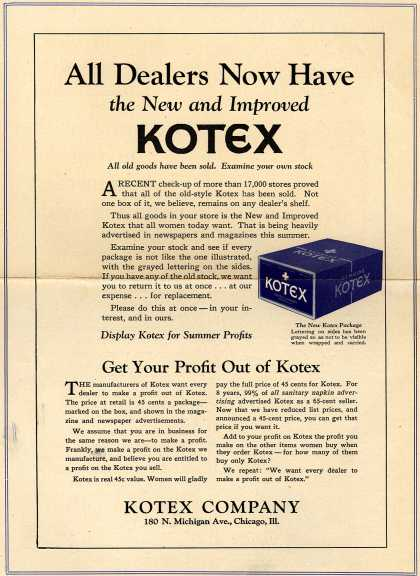 Kotex Company's Sanitary Napkins – All Dealers Now Have the New and Improved Kotex (1928)