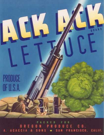 Ack Ack Lettuce Label – San Francisco, CA