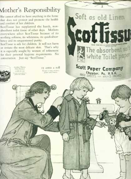 Scottissue Ad Kids In Bathroom Nice Artwork (1926)