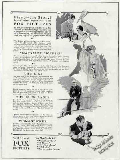 William Fox Pictures (4) Antique Movie (1926)