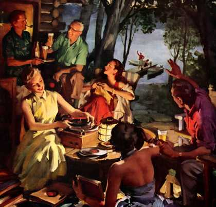 "When everyone feels like relaxing, what makes a glass of beer taste 			so good? U.S. Brewers Foundation, ""Friends From Across the Lake"" by Haddon Su (1955)"