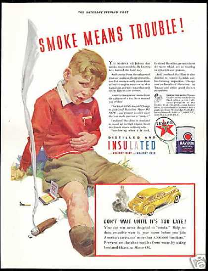 Cigar Smoking Boy Trouble Vintage Texaco Oil (1941)