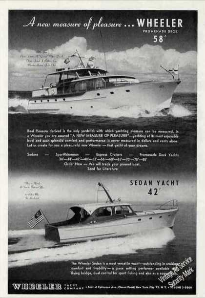Wheeler 42 & 58 Yacht Photos Collectible Boats (1955)