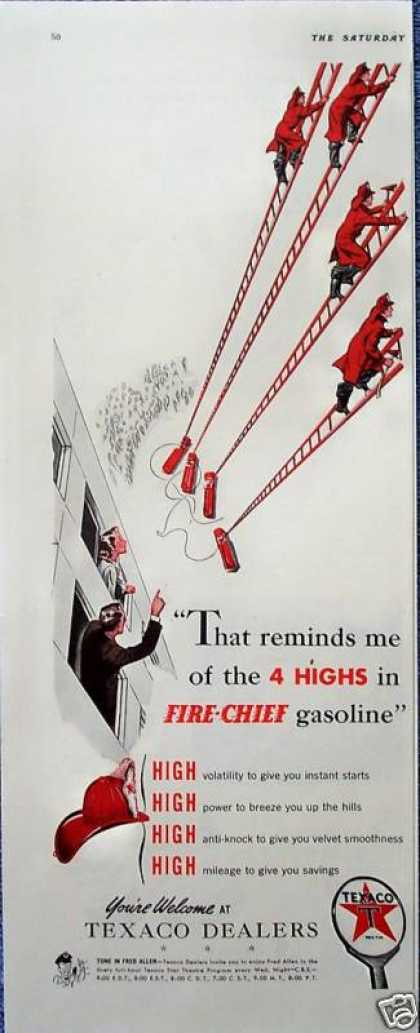 Texaco Fire Chief Gas Ladders Firemen Trucks Climb (1941)