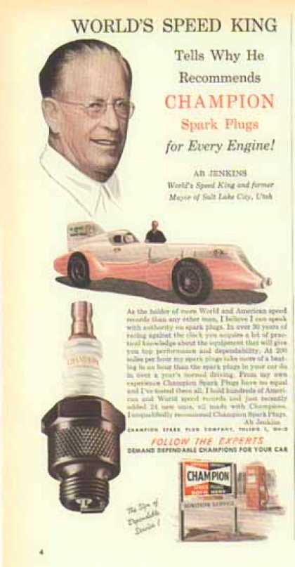 Champion Spark Plugs – Ab Jenkins – Auto Racing – Sold (1951)