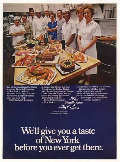 United Airlines Nonstops to New York Chefs Food (1970)