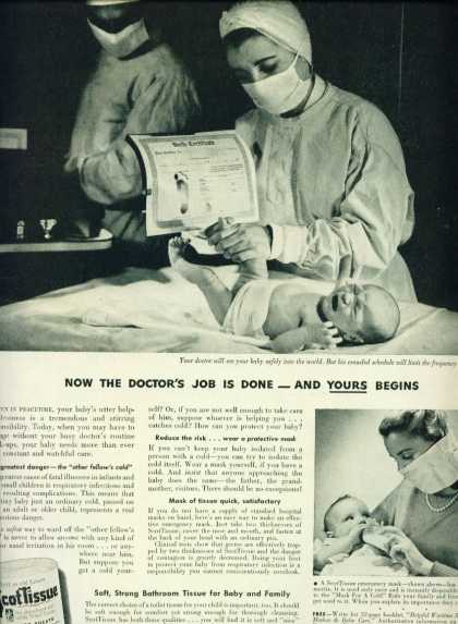 Scottissue Toilet Paper Ad C Newborn Baby (1943)