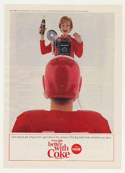 Coke Coca-Cola Lady Camera Football Player (1964)