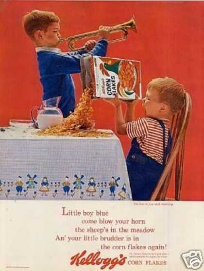 "Kellogg's Corn Flakes Cereal Ad ""Little Boy Blue.. (1963)"