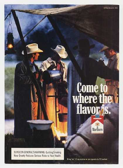 Marlboro Cigarette Cowboys Men Around Campfire (1994)