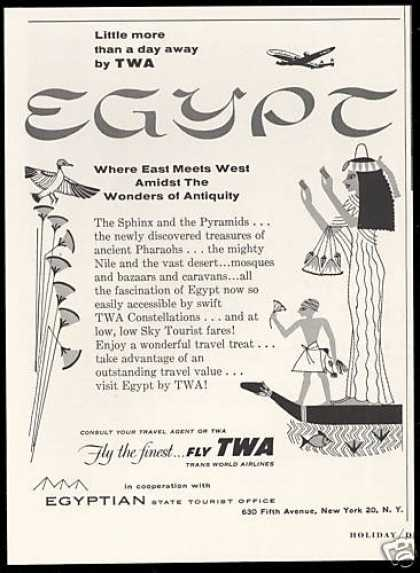 TWA Airlines Egypt Travel (1954)