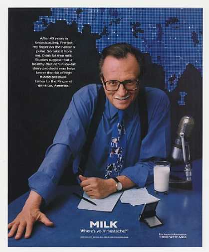 Larry King Milk Mustache Photo (1998)