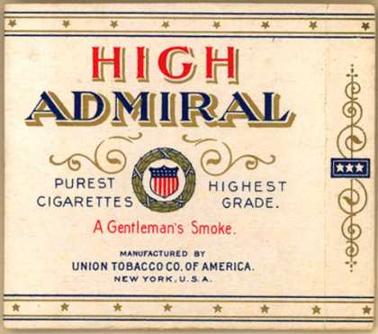 Union Tobacco Co. of America's Cigarettes – High Admiral