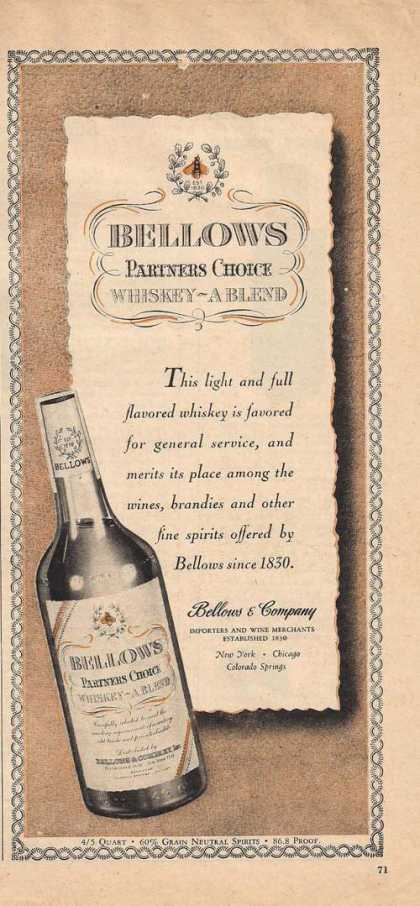 Bellows Partners Choice Whiskey (1947)