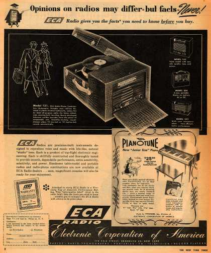 Electronic Corporation of America's Various – Opinions on radios may differ – but facts – Never (1947)
