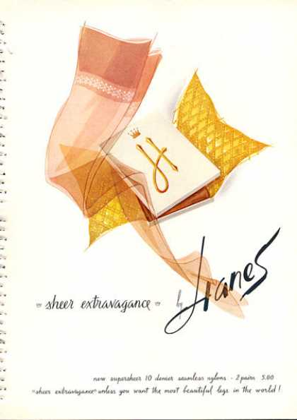 Hanes Sheer Stockings Hose Nylon (1962)
