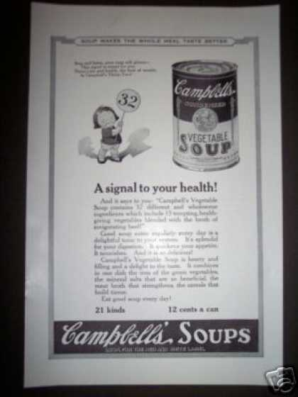 Original Antique Campbell's Kid Soup Ad Vegetable (1923)