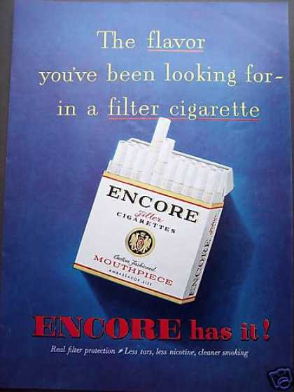Encore Cigarettes Filter Mouthpiece Color (1953)