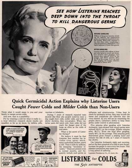 Lambert Pharmacal Company's Listerine – See How Listerine Reaches Deep Down Into The Throat To Kill Dangerous Germs (1938)