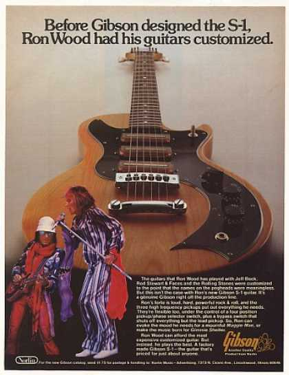 Ron Wood Gibson S-1 Guitar Photo (1976)
