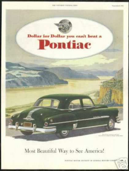 Pontiac Eight Green 4 Dr Vintage Print Car (1951)