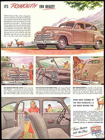 Plymouth 4 Door 5 Illustrations Vintage Car (1946)