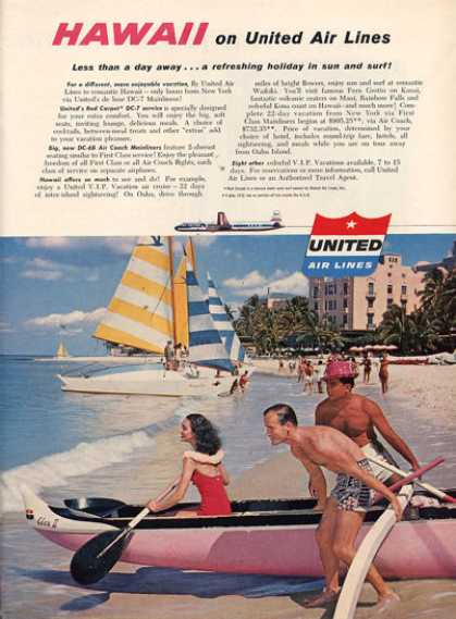 United Airlines Hawaii Ad Outrigger Canoe (1956)