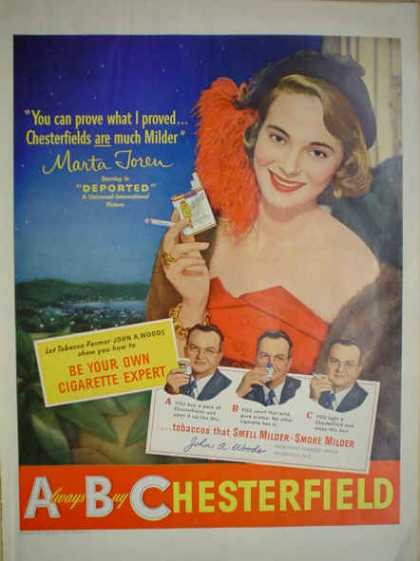 ABC Chesterfield Cigarettes Marta Toren Deported Movie (1950)