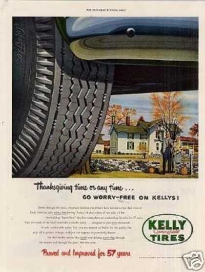 "Kelly Springfield Tire Ad ""Thanksgiving Time... (1951)"