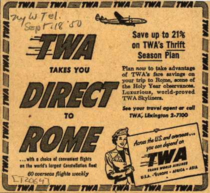 Trans World Airline's Rome – TWA Takes You Direct To Rome (1950)